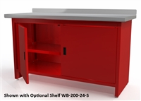 Quality Stainless Products WB-200-24-SS Steel Work Bench w/Doors & Stainless Steel Top
