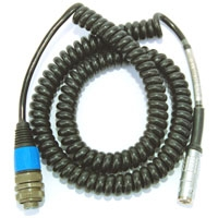 PMX-Entek IRD Coiled Cable 7 Pin Lemo To 2 Pin Mil Connector