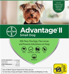 Advantage II For Small Dogs 1-10 lbs, Green 12 Pack