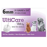UltiCare VetRx Pen Needles 31 ga. x 1/4, 100/Box