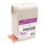 "UltiCare UltiGuard Insulin Syringe U-100 3/10 cc, 30 ga. x 1/2"", Syringe Dispenser and Sharps Container, Box of 100"