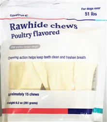 Covetrus Rawhide Chews For Dogs over 50 lbs, 15 Chews X-Large GREY