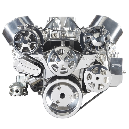 S-Drive Serpentine Pulley Kit BB Chevy, W/Billet aluminum attached PS reservoir