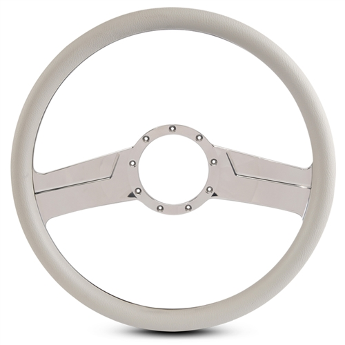 "Vintage Billet Steering Wheel 15"" Chrome Plated Spokes/White Grip"