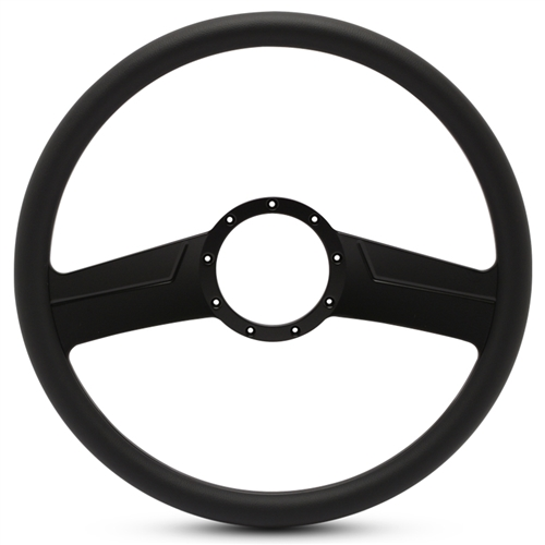 "Vintage Billet Steering Wheel 15"" Matte Black Spokes/Black Grip"