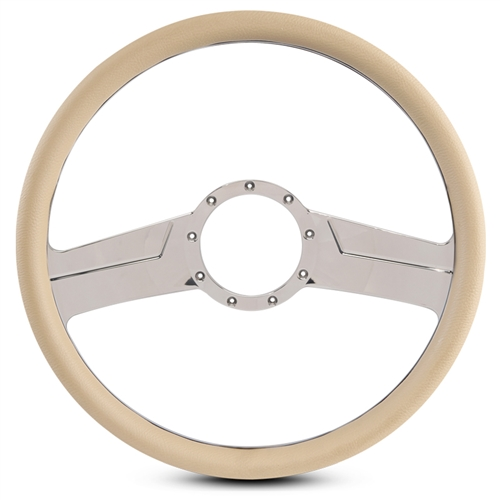 "Vintage Billet Steering Wheel 15"" Chrome Plated Spokes/Tan Grip"