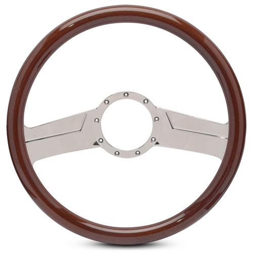 "Vintage Billet Steering Wheel 15"" Polished Spokes/Woodgrain Grip"