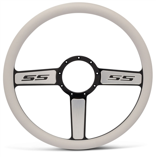 "SS Logo Billet Steering Wheel 15"" Black Spokes with Machined Highlights/White Grip"
