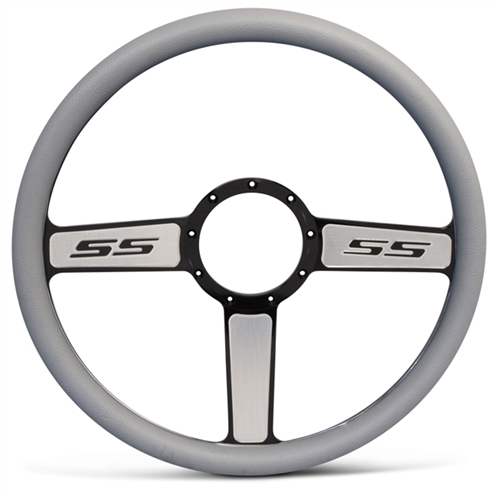 "SS Logo Billet Steering Wheel 15"" Black Spokes with Machined Highlights/Grey Grip"