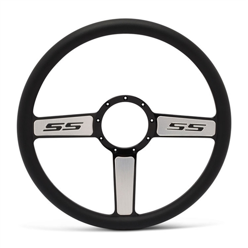 "SS Logo Billet Steering Wheel 15"" Black Spokes with Machined Highlights/Black Grip"