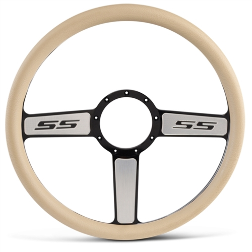 "SS Logo Billet Steering Wheel 15"" Black Spokes with Machined Highlights/Tan Grip"