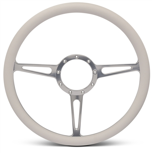 "Classic Billet Steering Wheel 15"" Clear Anodized Spokes/White Grip"