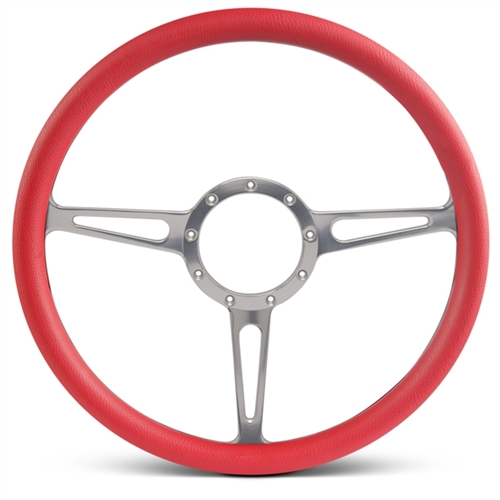 "Classic Billet Steering Wheel 15"" Clear Anodized Spokes/Red Grip"