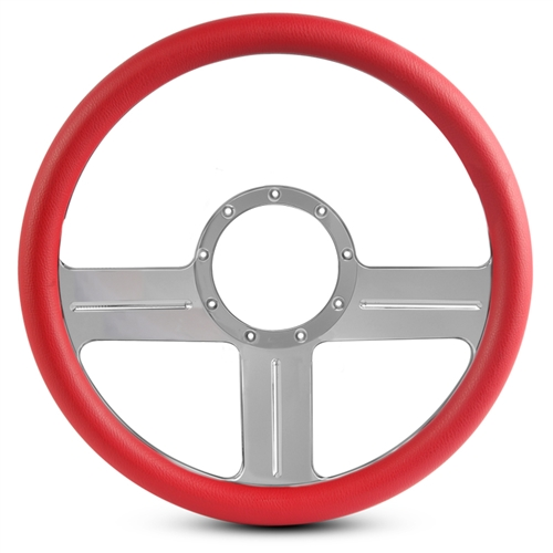 "G3 Billet Steering Wheel 15"" Clear Anodized Spokes/Red Grip"