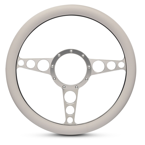 "Racer Billet Steering Wheel 13-1/2"" Clear Anodized Spokes/White Grip"