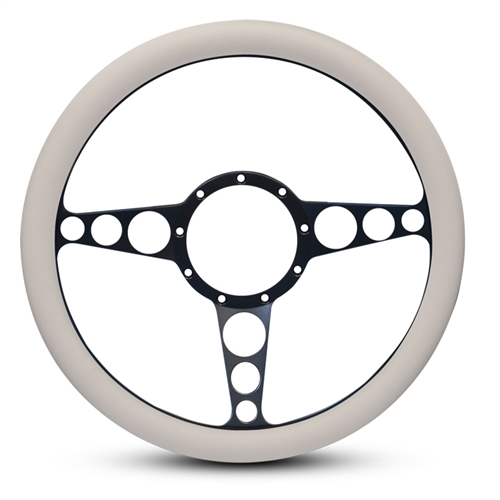 "Racer Billet Steering Wheel 13-1/2"" Matte Black Spokes/White Grip"