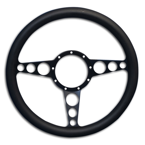 "Racer Billet Steering Wheel 13-1/2"" Matte Black Spokes/Black Grip"