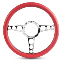 "Racer Billet Steering Wheel 13-1/2"" Chrome Plated Spokes/Red Grip"
