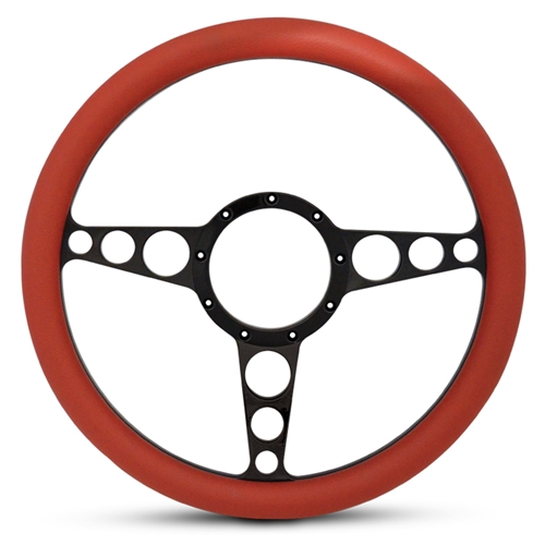 "Racer Billet Steering Wheel 13-1/2"" Matte Black Spokes/Red Grip"