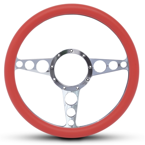 "Racer Billet Steering Wheel 13-1/2"" Polished Spokes/Red Grip"
