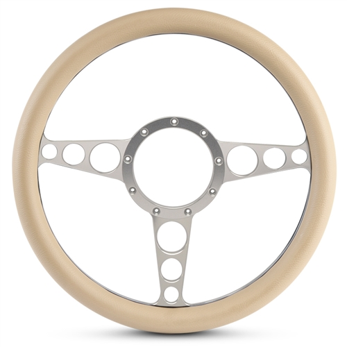 "Racer Billet Steering Wheel 13-1/2"" Clear Anodized Spokes/Tan Grip"