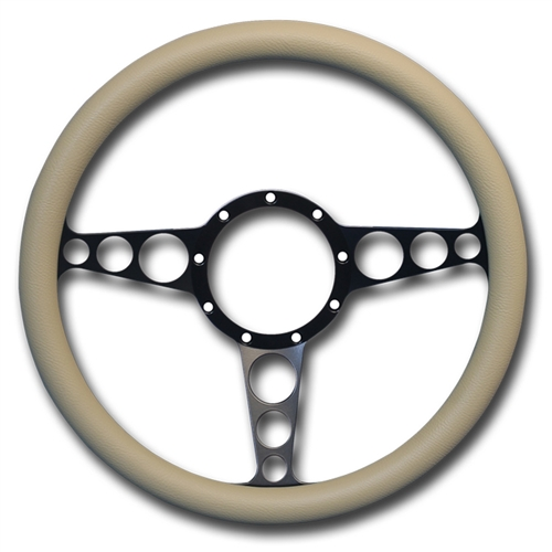 "Racer Billet Steering Wheel 13-1/2"" Matte Black Spokes/Tan Grip"