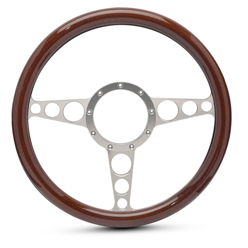 "Racer Billet Steering Wheel 13-1/2"" Clear Anodized Spokes/Woodgrain Grip"