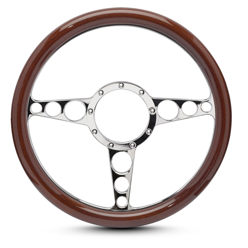 "Racer Billet Steering Wheel 13-1/2"" Chrome Plated Spokes/Woodgrain Grip"