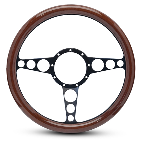 "Racer Billet Steering Wheel 13-1/2"" Matte Black Spokes/Woodgrain Grip"