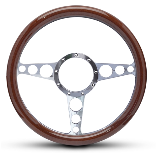 "Racer Billet Steering Wheel 13-1/2"" Polished Spokes/Woodgrain Grip"