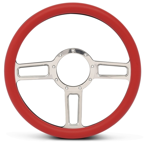 Launch Billet Steering Wheel Polished Spokes/Red Grip