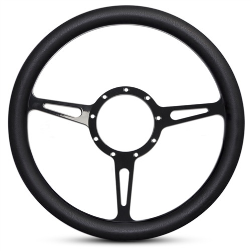 Classic Billet Steering Wheel Black Anodized Spokes/Black Grip