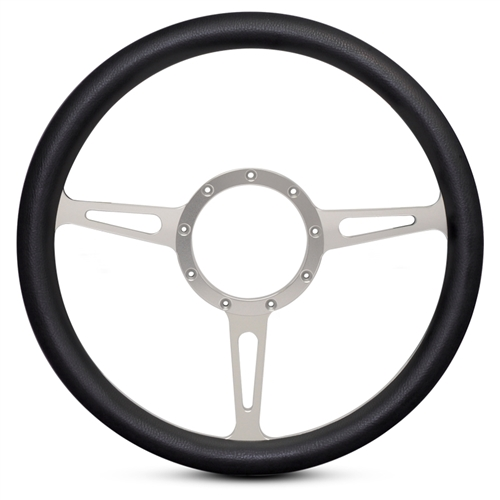 Classic Billet Steering Wheel Clear Anodized Spokes/Black Grip