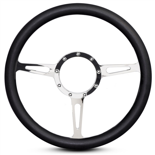 Classic Billet Steering Wheel Chrome Plated Spokes/Black Grip