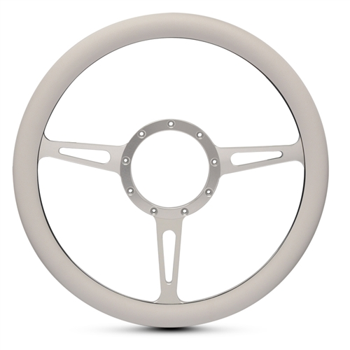"Classic Billet Steering Wheel 13-1/2"" Clear Anodized Spokes/White Grip"