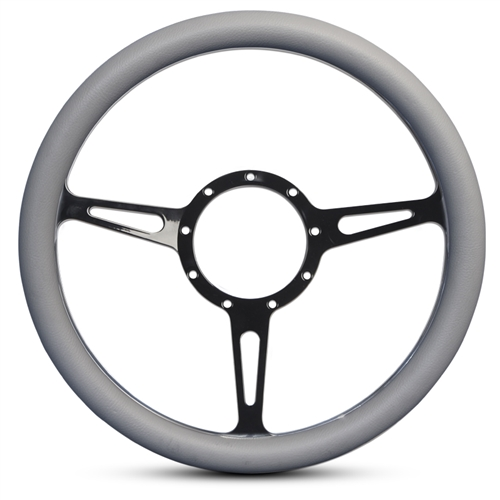 Classic Billet Steering Wheel Black Anodized Spokes/Grey Grip