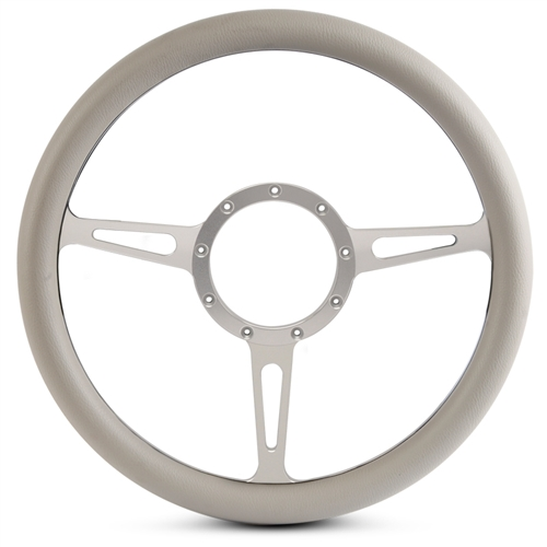 Classic Billet Steering Wheel Clear Anodized Spokes/Grey Grip