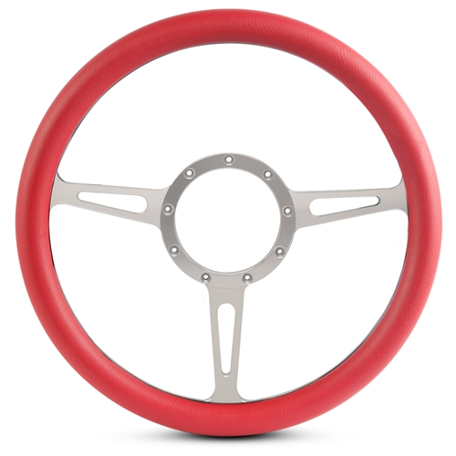 Classic Billet Steering Wheel Clear Anodized Spokes/Red Grip