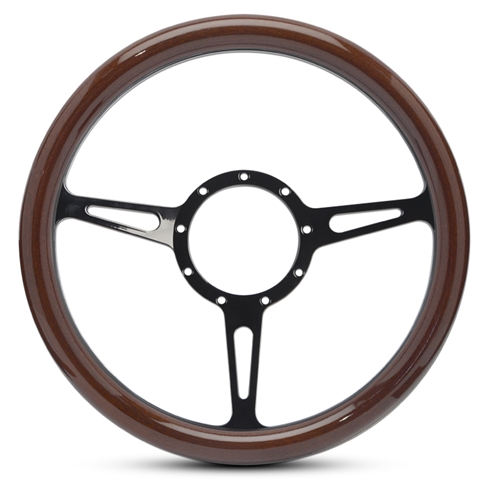 Classic Billet Steering Wheel Gloss Black Spokes/Woodgrain Grip