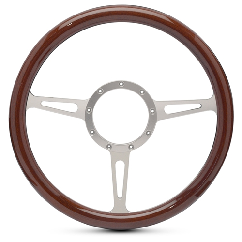 Classic Billet Steering Wheel Clear Anodized Spokes/Woodgrain Grip