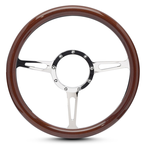 Classic Billet Steering Wheel Chrome Plated Spokes/Woodgrain Grip