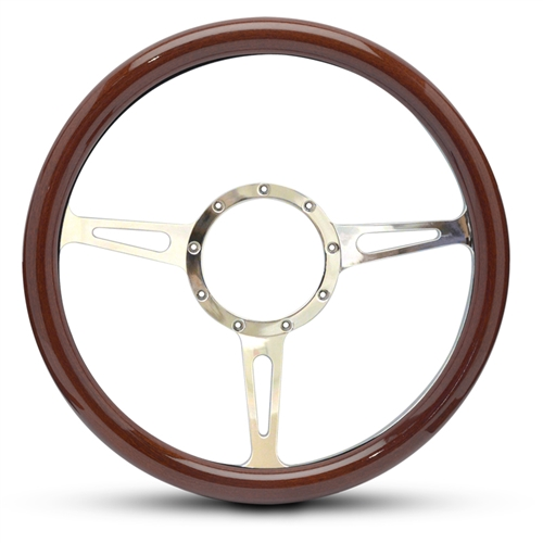 Classic Billet Steering Wheel Polished Spokes/Woodgrain Grip