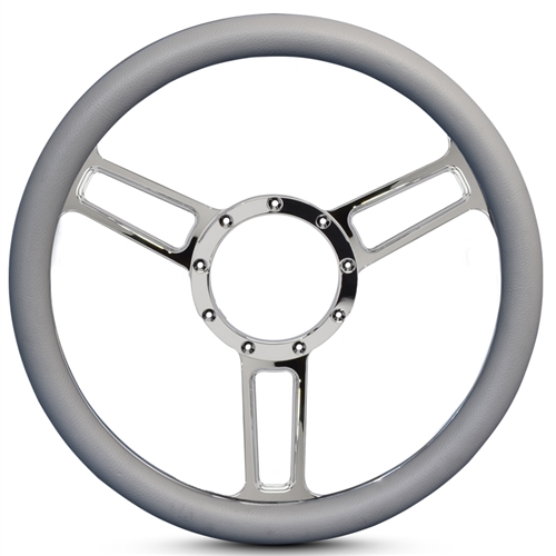 "Launch Symmetrical Billet Steering Wheel 13-1/2"" Chrome Plated Spokes/Grey Grip"