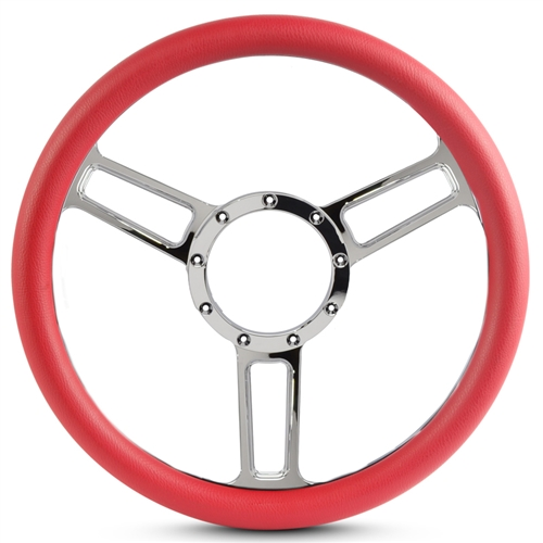 "Launch Symmetrical Billet Steering Wheel 13-1/2"" Chrome Plated Spokes/Red Grip"