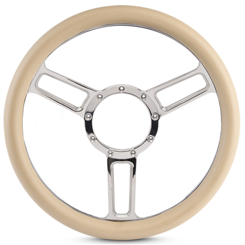 "Launch Symmetrical Billet Steering Wheel 13-1/2"" Chrome Plated Spokes/Tan Grip"
