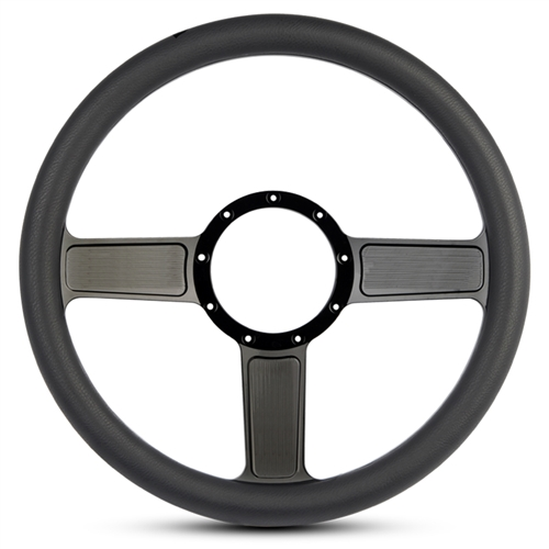 Linear Billet Steering Wheel Gloss Black Spokes/Black Grip