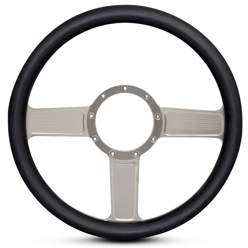 Linear Billet Steering Wheel Clear Anodized Spokes/Black Grip