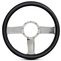 Linear Billet Steering Wheel Chrome Plated Spokes/Black Grip