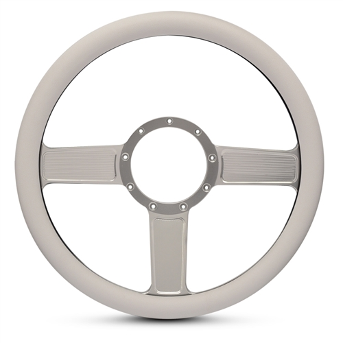 Linear Billet Steering Wheel Clear Anodized Spokes/White Grip