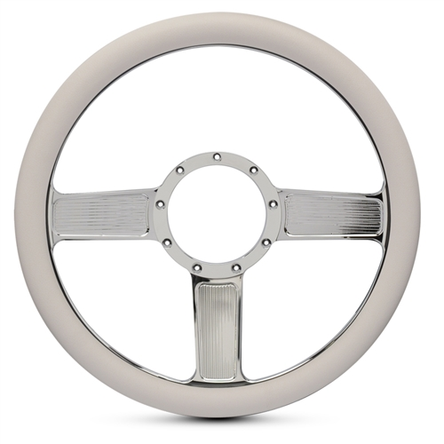 Linear Billet Steering Wheel Chrome Plated Spokes/White Grip